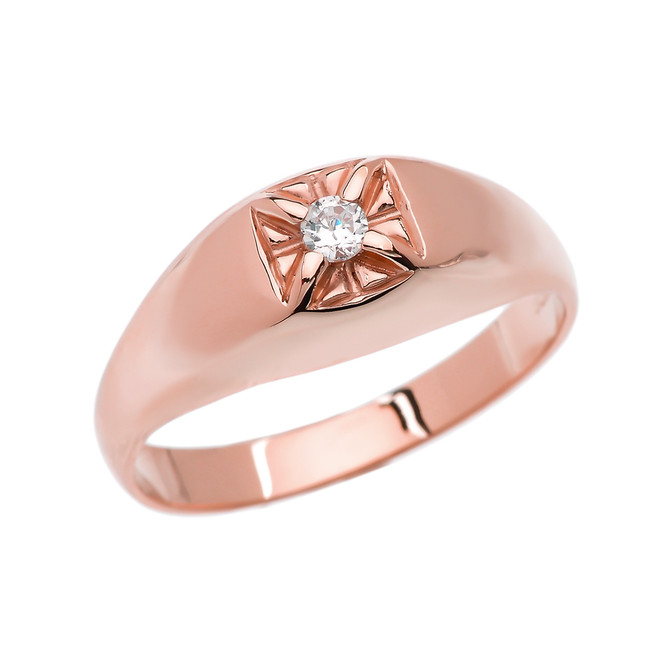 Diamond Rose Gold Men's Pinky Ring