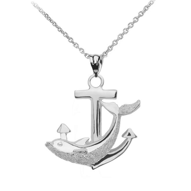 Sterling Silver Anchor Textured Dolphin Pendant Necklace