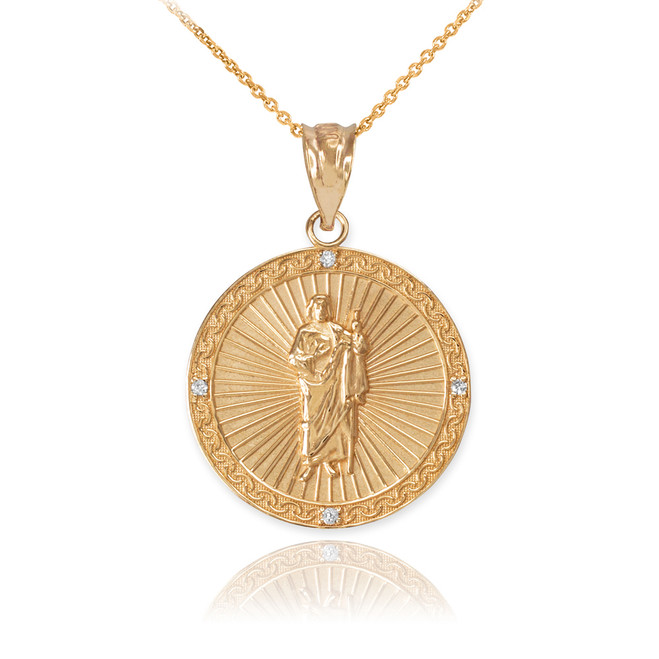 Yellow Gold St Jude Diamond Disc Pendant Necklace