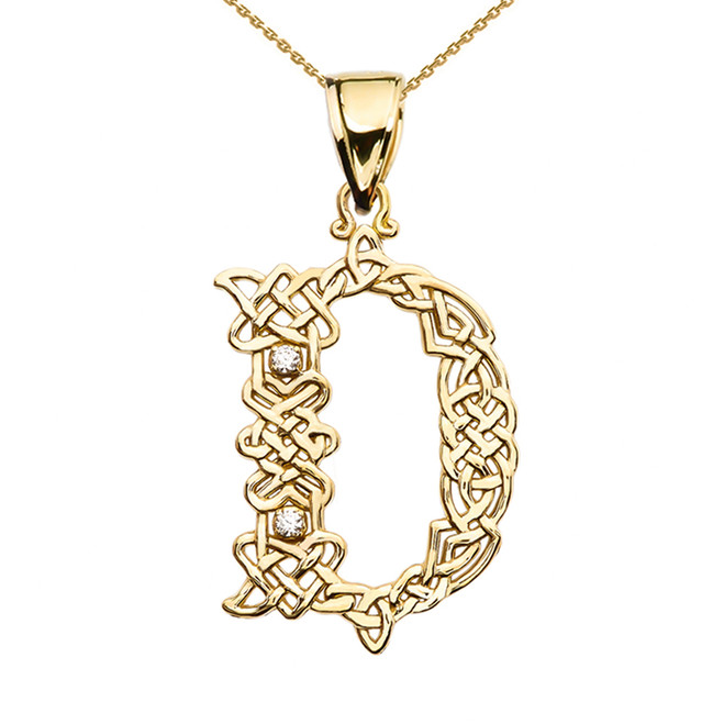 """D"" Initial In Celtic Knot Pattern Yellow Gold Pendant Necklace With Diamond"