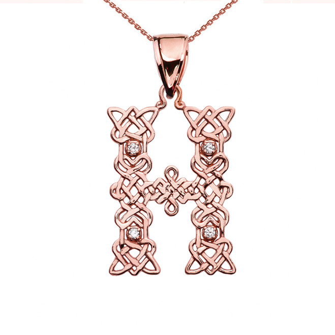 """H"" Initial In Celtic Knot Pattern Rose Gold Pendant Necklace With Diamond"