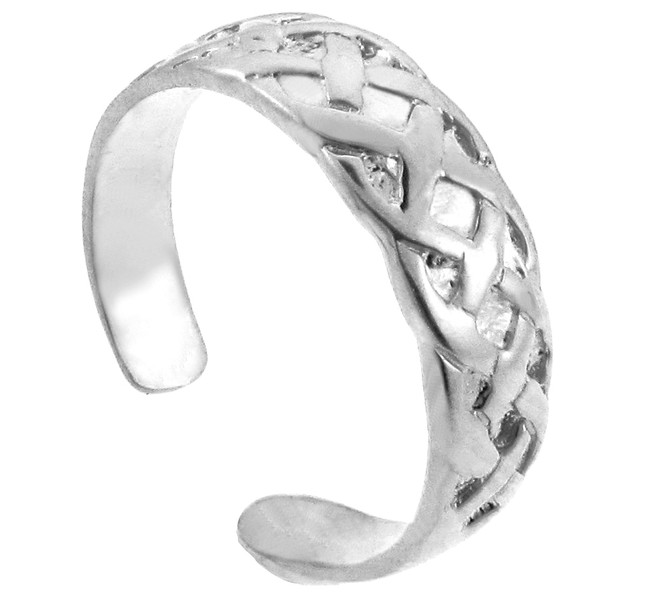 Bold White Gold Trinity Knot Toe Ring