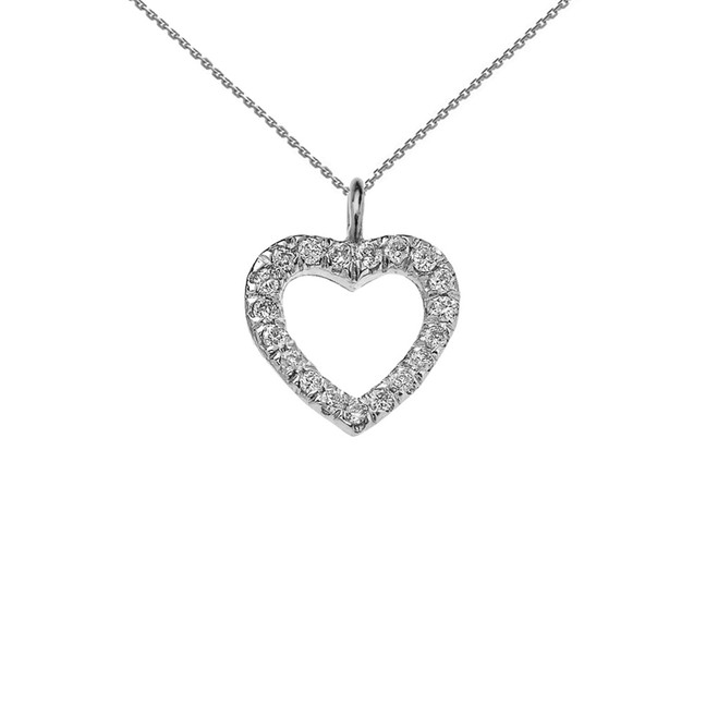 Reversible Diamond and High Polish Plain Open Heart White Gold Charm Dainty Pendant Necklace