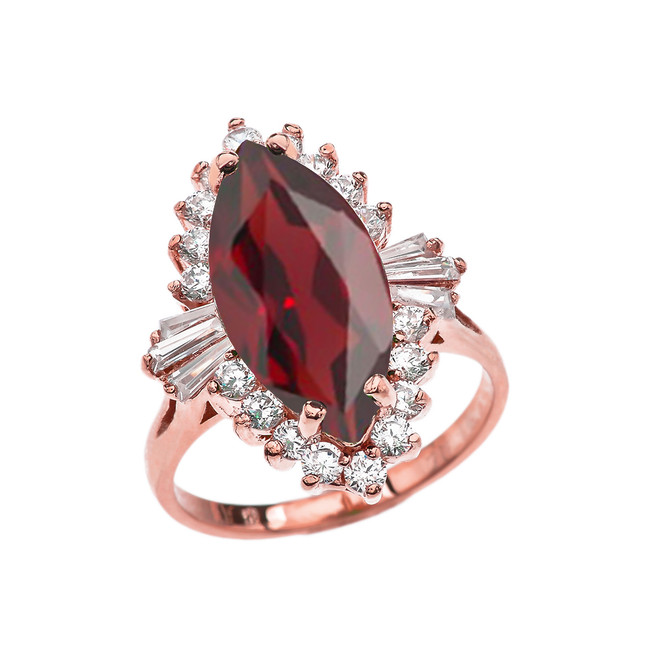 4 Ct CZ Garnet January Birthstone Ballerina Proposal Ring