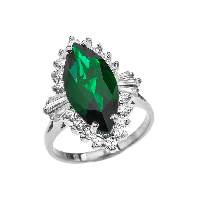 4 Ct CZ Emerald May Birthstone Ballerina White Gold Proposal Ring