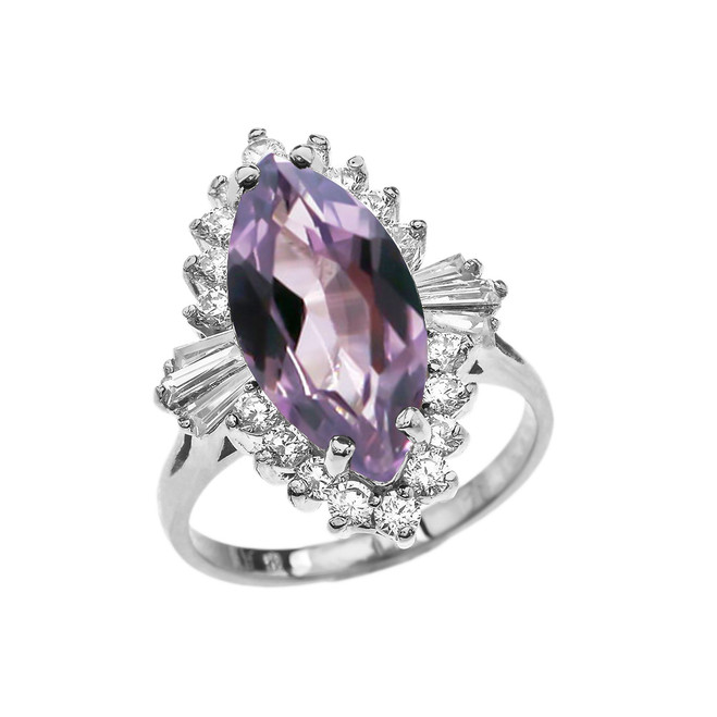 4 Ct CZ Alexandrite June Birthstone Ballerina White Gold Proposal Ring