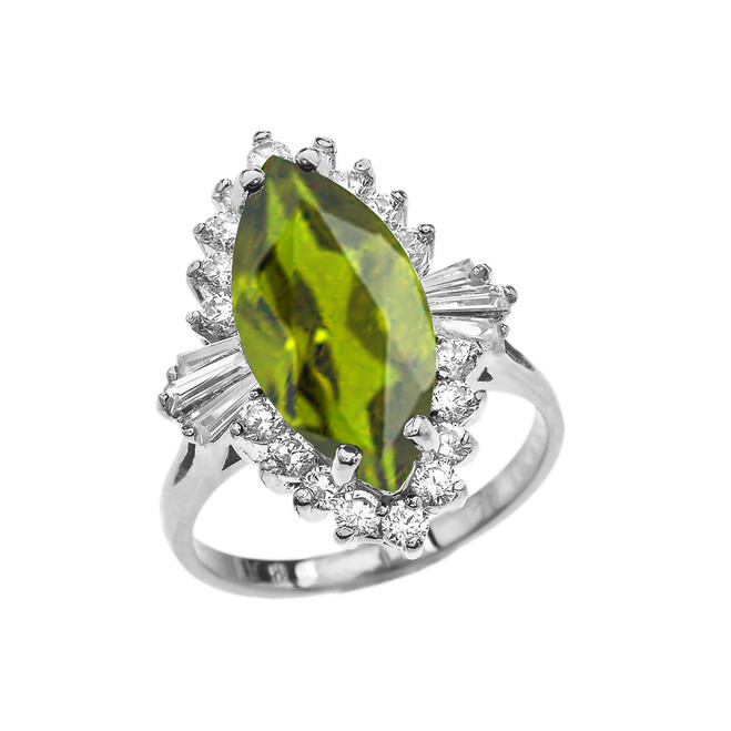 4 Ct CZ Peridot August Birthstone Ballerina White Gold Proposal Ring