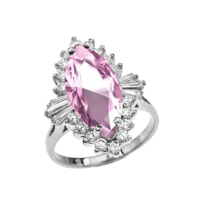 4 Ct CZ Pink October Birthstone Ballerina White Gold Proposal Ring