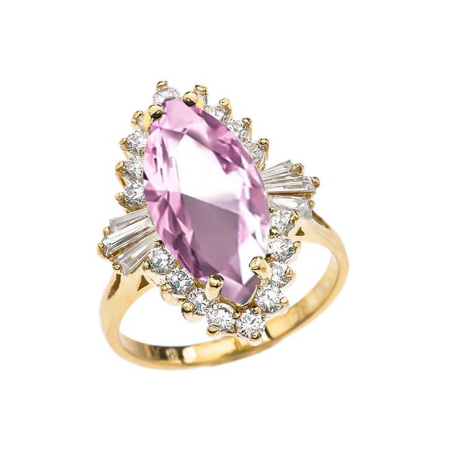 4 Ct CZ Pink October Birthstone Ballerina Yellow Gold Proposal Ring