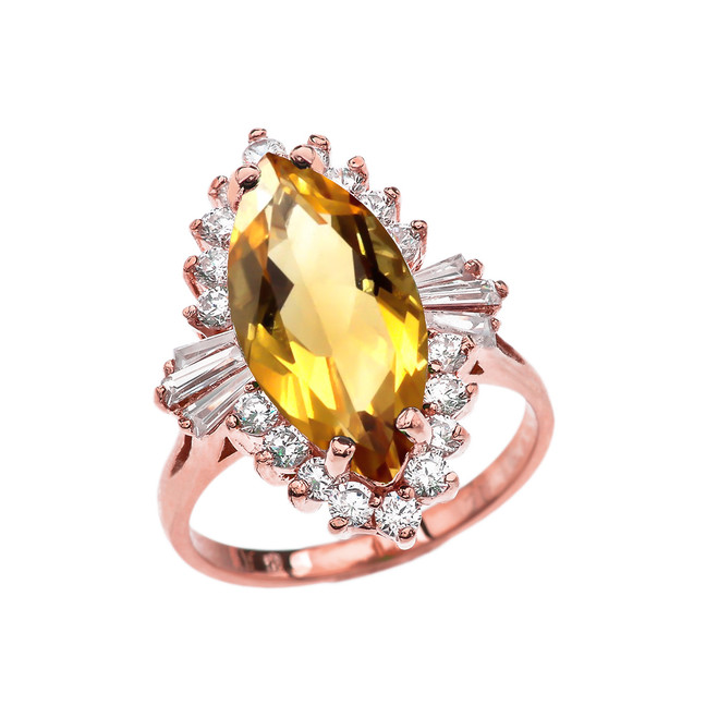 4 Ct CZ Citrine November Birthstone Ballerina Rose Gold Proposal Ring