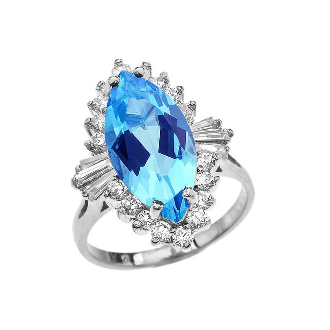 4 Ct CZ Blue Topaz December Birthstone Ballerina White Gold Proposal Ring