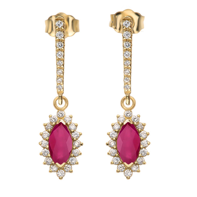 Diamond And Ruby Yellow Gold Elegant Earrings