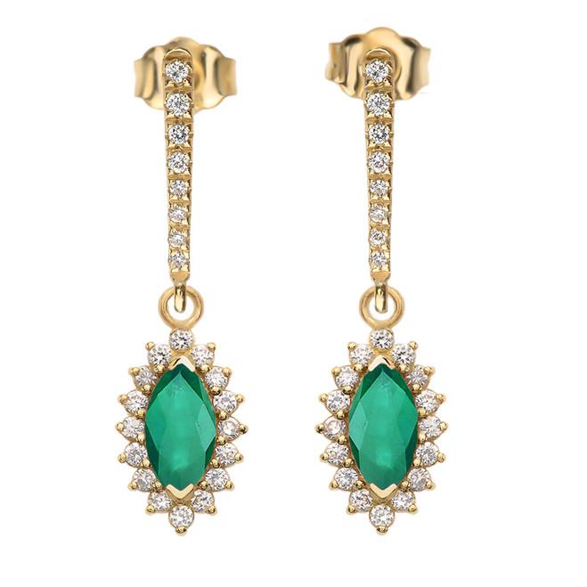 Diamond And May Birthstone LC Emerald Yellow Gold Elegant Earrings