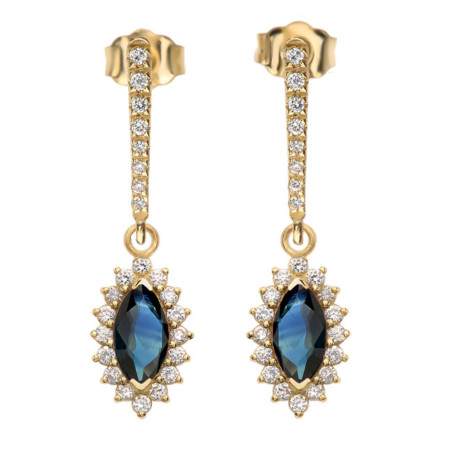 Diamond And Sapphire Yellow Gold Elegant Earrings