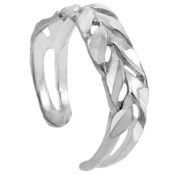 Diamond Cut Silver Toe Ring