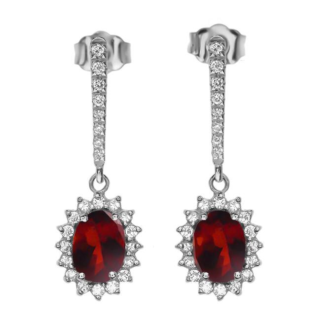 Diamond And Garnet White Gold Elegant Earrings
