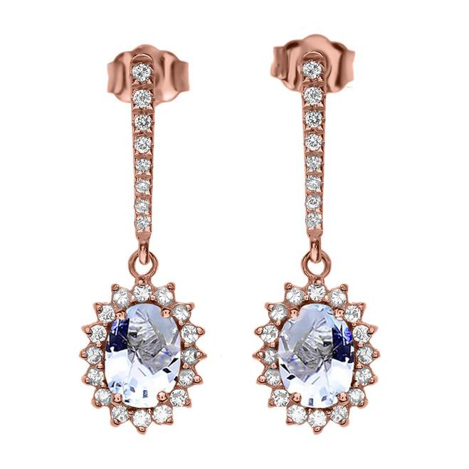 Diamond And March Birthstone Aquamarine Rose Gold Elegant Earrings