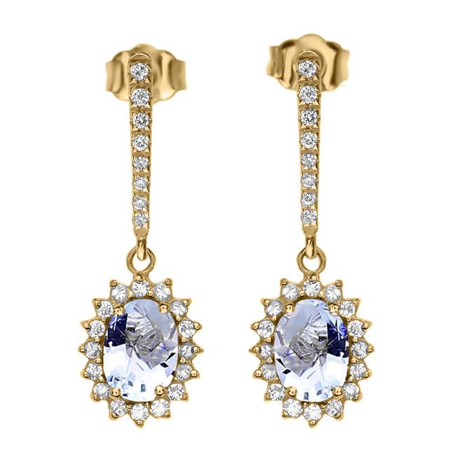 Diamond And March Birthstone Aquamarine Yellow Gold Elegant Earrings