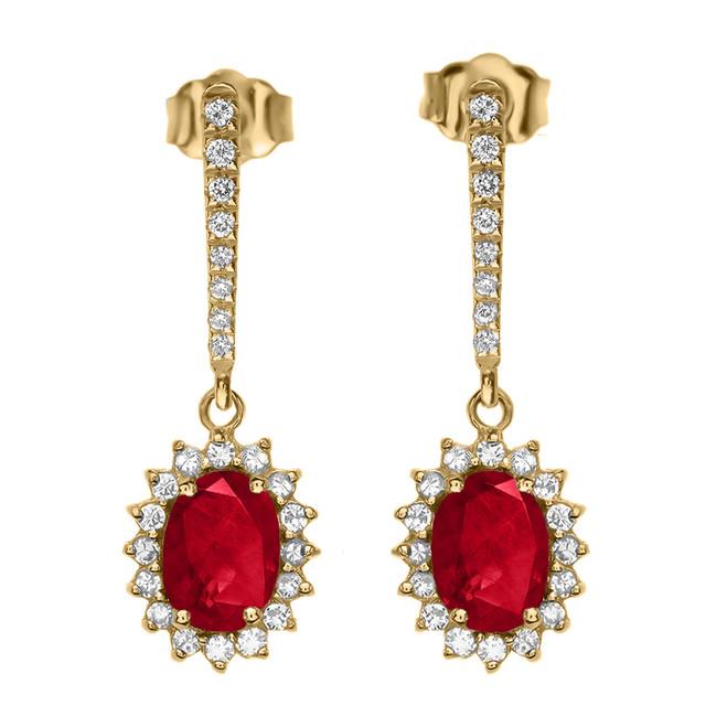 Diamond And July Birthstone  Ruby Yellow Gold Elegant Earrings