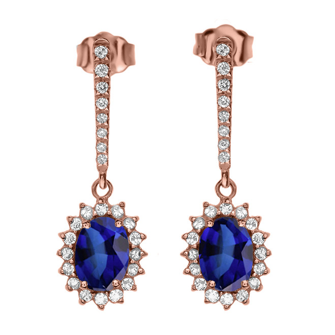 Diamond And September Birthstone Sapphire Rose Gold Elegant Earrings