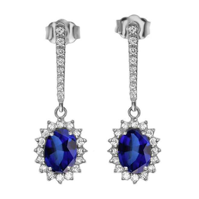 Diamond And September Birthstone Sapphire White Gold Elegant Earrings