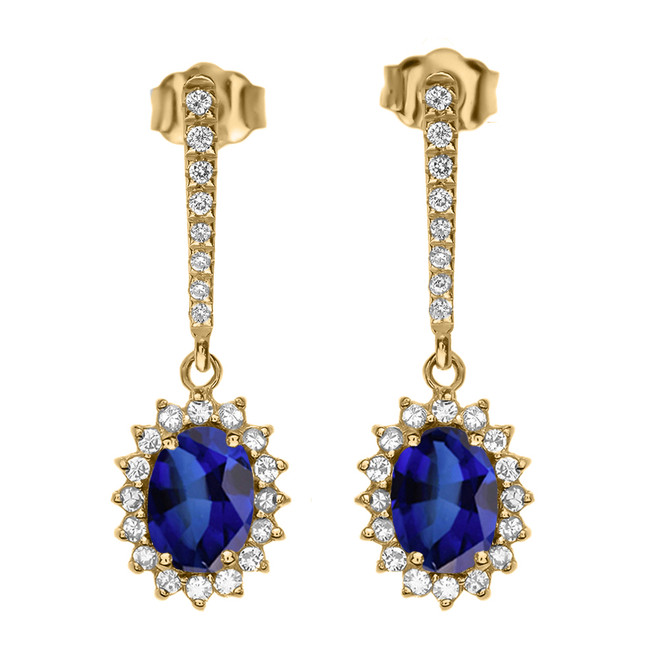 Diamond And September Birthstone Sapphire Yellow Gold Elegant Earrings