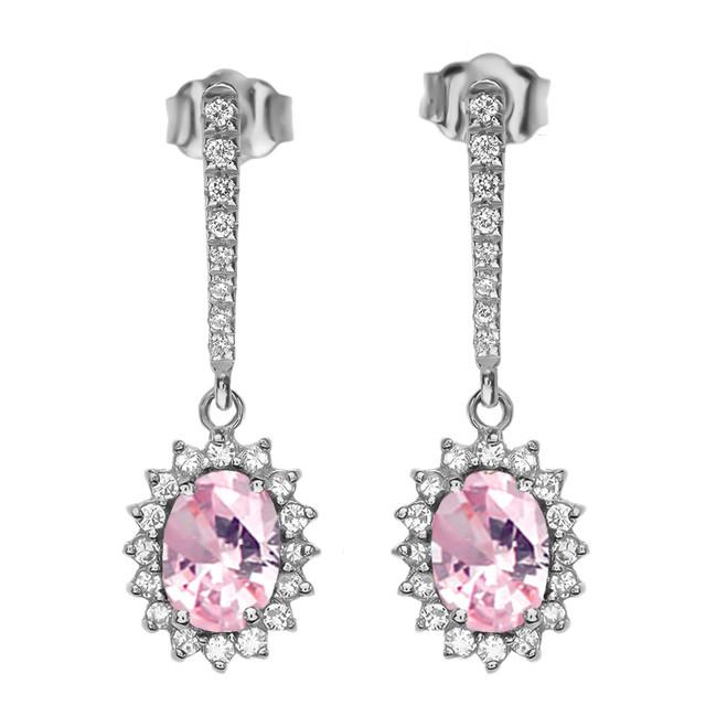 Diamond And October Birthstone Pink CZ White Gold Elegant Earrings