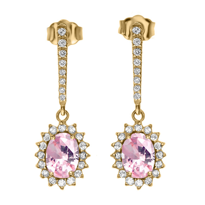 Diamond And October Birthstone Pink CZ Yellow Gold Elegant Earrings