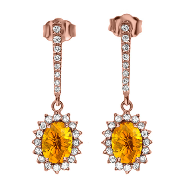 Diamond And Citrine Rose Gold Elegant Earrings