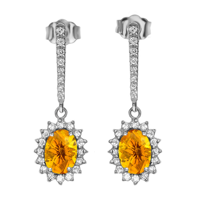 Diamond And Citrine White Gold Elegant Earrings