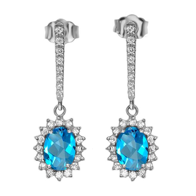 Diamond And Blue Topaz White Gold Elegant Earrings