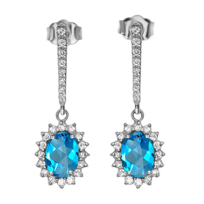 Diamond And Blue Topaz White Gold Elegant Earrings