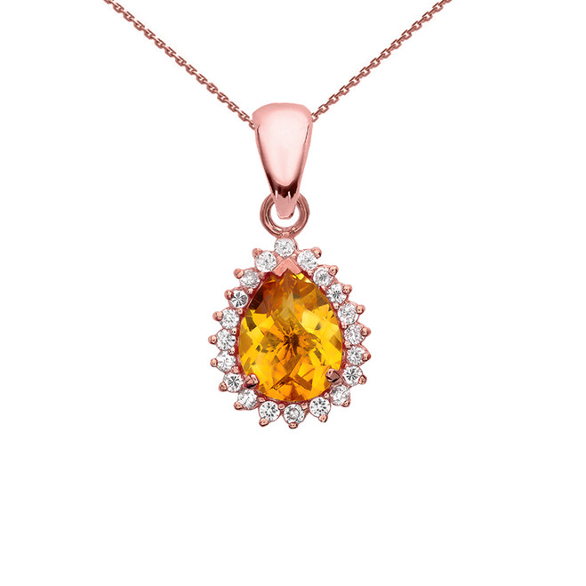 Diamond And Checkerboard Citrine Rose Gold Elegant Pendant Necklace