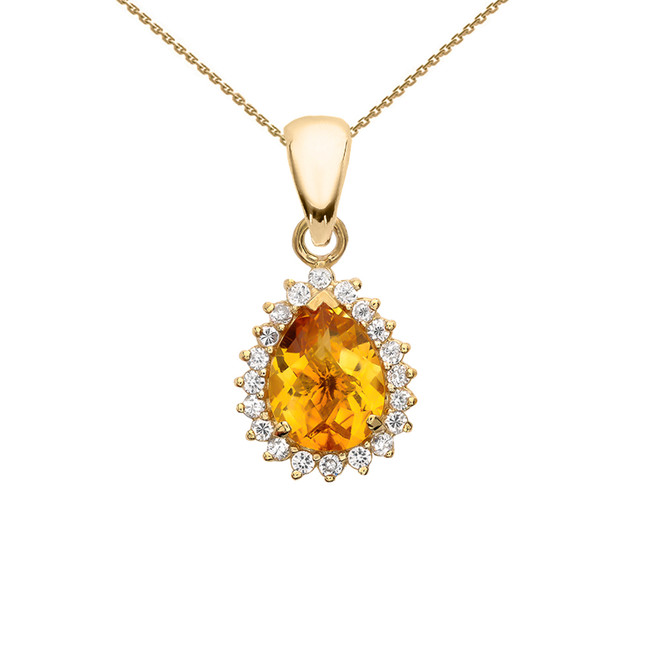 Diamond And Checkerboard Citrine Yellow Gold Elegant Pendant Necklace