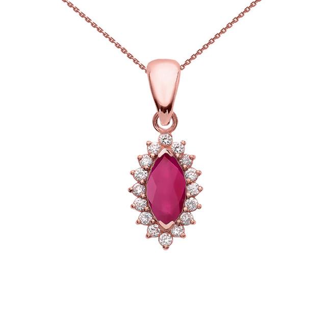 Diamond And Ruby Rose Gold Elegant Pendant Necklace