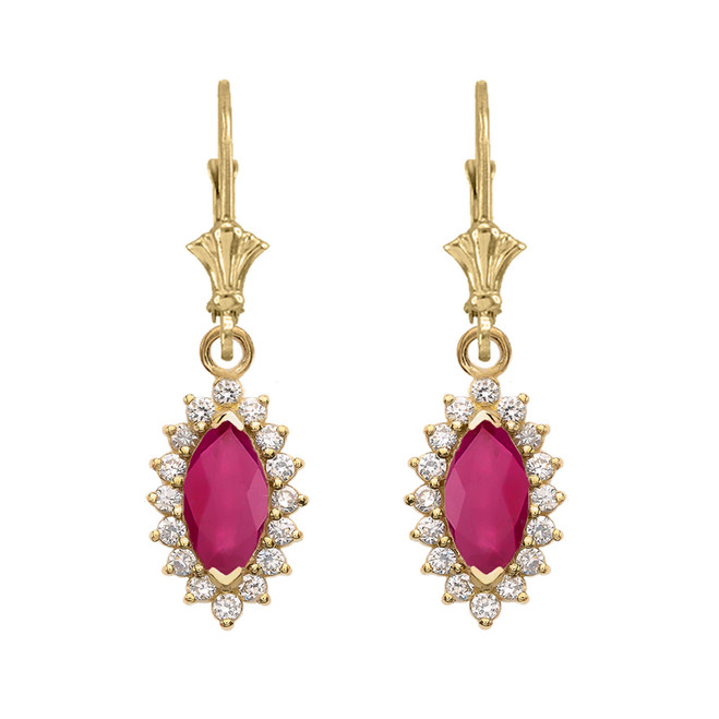 Diamond And Ruby Yellow Gold Dangling Earrings