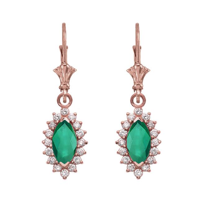 Diamond And Emerald Rose Gold Dangling Earrings