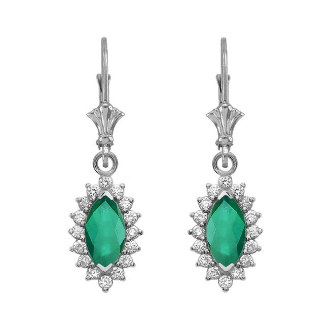 Diamond And Emerald White Gold Dangling Earrings