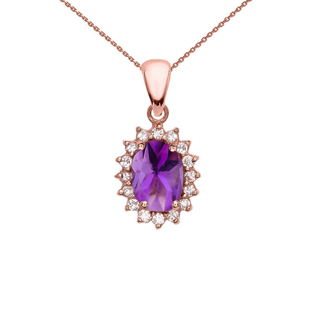 Diamond And Amethyst Rose Gold Elegant Pendant Necklace