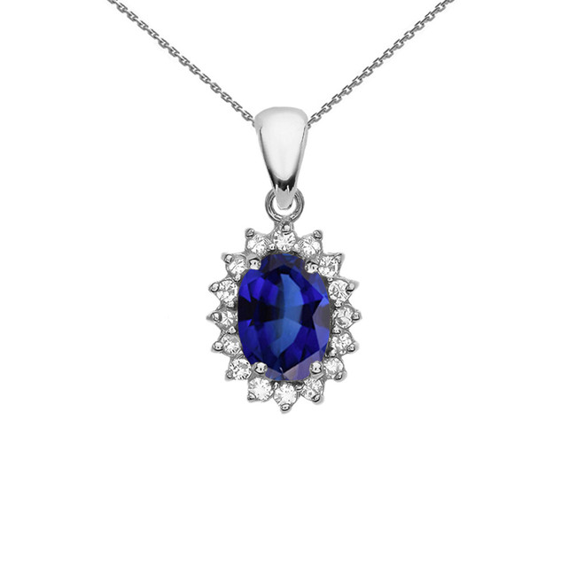 Diamond And September Birthstone CZ Sapphire White Gold Elegant Pendant Necklace