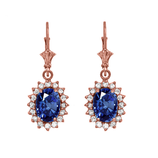 Diamond And September Birthstone Sapphire Rose Gold Dangling Earrings