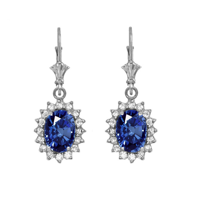 Diamond And September Birthstone Sapphire White Gold Dangling Earrings
