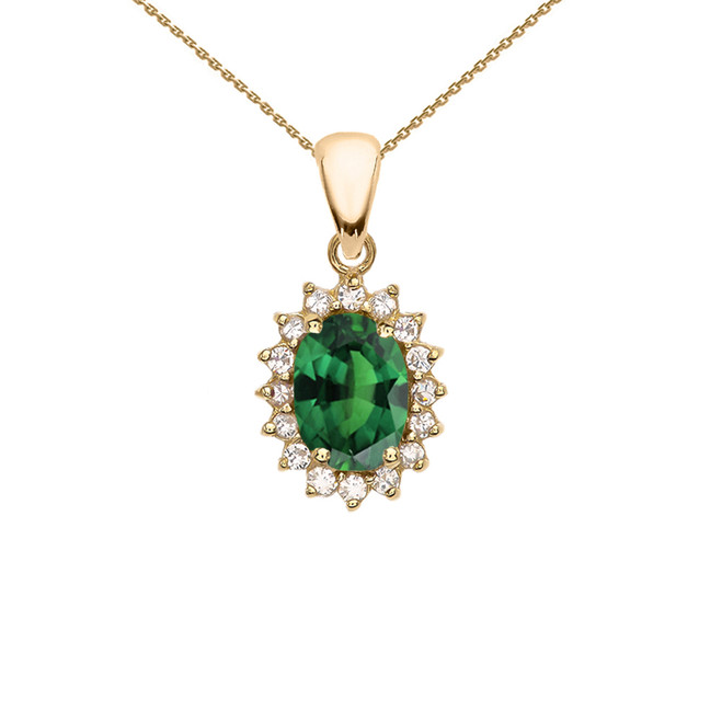 Diamond And May Birthstone (LCE) Emerald Yellow Gold Elegant Pendant Necklace