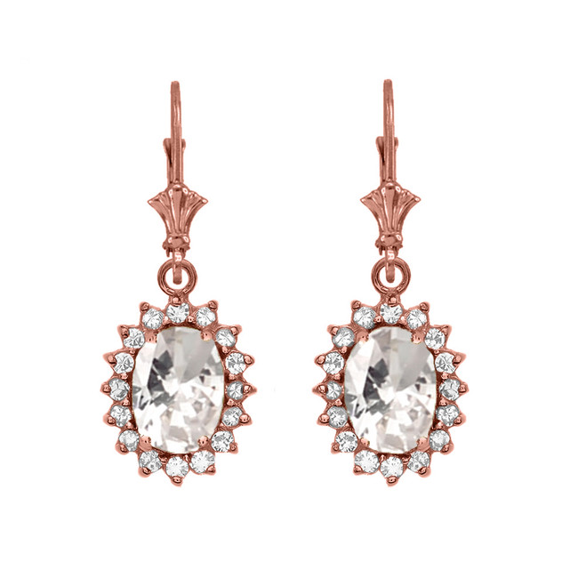 Diamond And April Birthstone CZ Rose Gold Dangling Earrings
