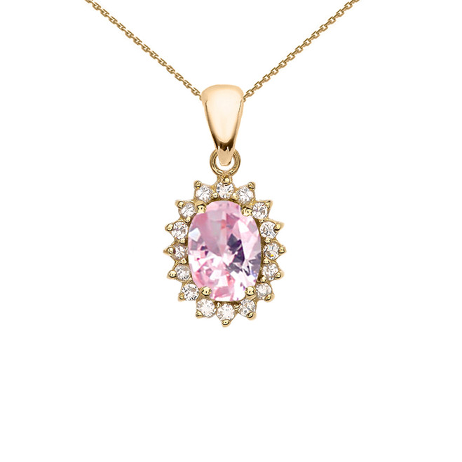 Diamond And October Birthstone Pink CZ Yellow Gold Elegant Pendant Necklace