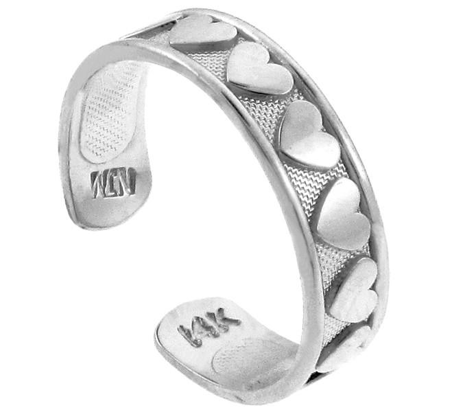 Classy Heart White Gold Toe Ring