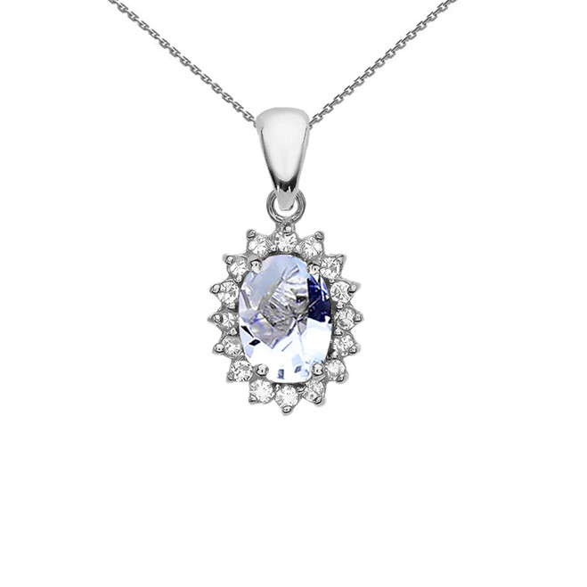 Diamond And March Birthstone Aquamarine White Gold Elegant Pendant Necklace