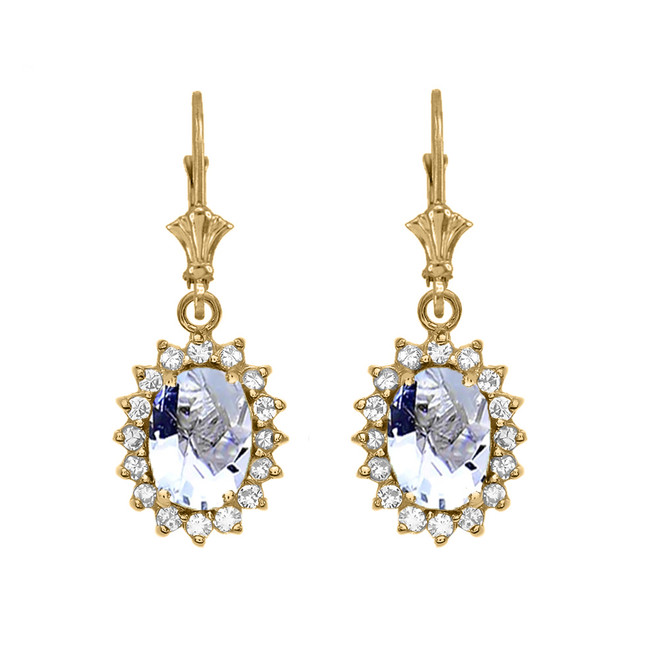 Diamond And March Birthstone Aquamarine Yellow Gold Dangling Earrings