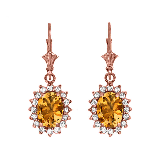Diamond And Citrine Rose Gold Dangling Earrings