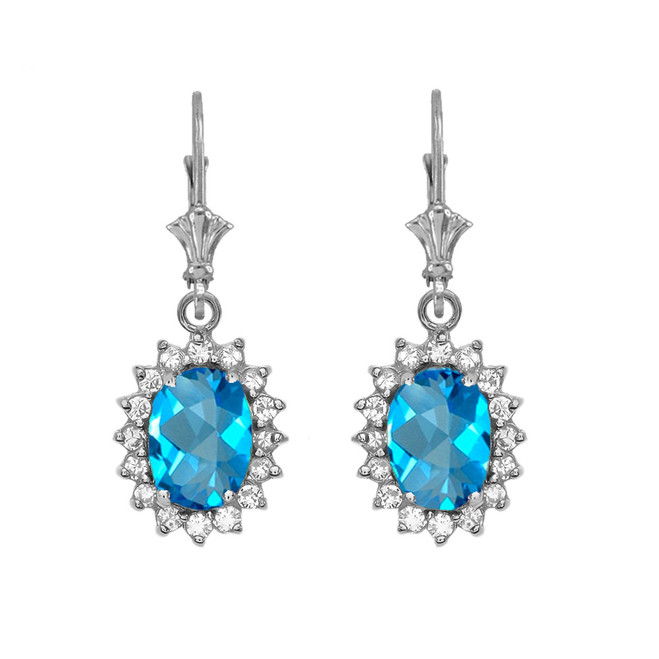 Diamond And Blue Topaz White Gold Dangling Earrings